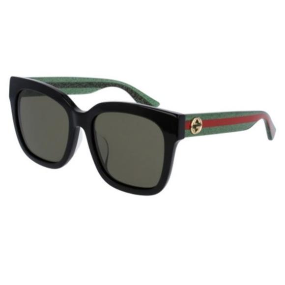 95d5b86ad GUCCI GG 0034 SA 002 BLACK   GREEN Sunglasses